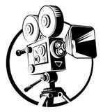 Μαύρη αναδρομική κάμερα κινηματογράφων σε ένα τρίποδο διανυσματική απεικόνιση