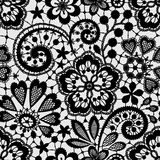 Μαύρη δαντέλλα, άνευ ραφής σχέδιο Στοκ εικόνες με δικαίωμα ελεύθερης χρήσης