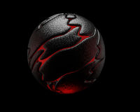 Μαύρη αντανακλαστική σφαίρα, κόκκινος εσωτερικός, τρισδιάστατη Στοκ Φωτογραφία