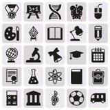 Μαύρη απλή συλλογή εικονιδίων Σχολική εκπαίδευση Στοκ Φωτογραφίες