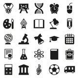 Μαύρη απλή συλλογή εικονιδίων Σχολική εκπαίδευση Στοκ Φωτογραφία