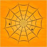 Μαύρη αράχνη με τα δίχτυα επίσης corel σύρετε το διάνυσμα απεικόνισης Στοκ φωτογραφία με δικαίωμα ελεύθερης χρήσης