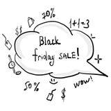 Μαύρη αυγή χεριών Παρασκευής doodle διανυσματική απεικόνιση