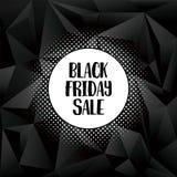 Μαύρη αφίσα πώλησης Παρασκευής ή διανυσματικό πρότυπο εμβλημάτων με τη δημιουργική αναδρομική χειρόγραφη τυπογραφία με την ημίτοή Στοκ Φωτογραφία