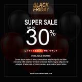 Μαύρη αφίσα πώλησης Παρασκευής με το υπόβαθρο μπαλονιών με το τετραγωνικό πλαίσιο Διανυσματικό πρότυπο απεικόνισης ελεύθερη απεικόνιση δικαιώματος