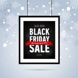 Μαύρη αφίσα πώλησης Παρασκευής στα σχοινιά Αφίσα πώλησης με την κόκκινη κορδέλλα στο χιονώδες υπόβαθρο Εποχιακή ετικέτα sale Διαν Στοκ Φωτογραφίες