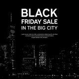 Μαύρη αφίσα πώλησης Παρασκευής στο μεγάλο υπόβαθρο πόλεων Νέα Υόρκη επίσης corel σύρετε το διάνυσμα απεικόνισης Στοκ Φωτογραφίες