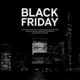 Μαύρη αφίσα πώλησης Παρασκευής στο μεγάλο υπόβαθρο πόλεων Νέα Υόρκη επίσης corel σύρετε το διάνυσμα απεικόνισης Στοκ Φωτογραφία