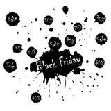 Μαύρη αφίσα πώλησης Παρασκευής με τους λεκέδες στο διάνυσμα απεικόνιση αποθεμάτων