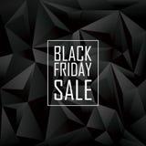 Μαύρη αφίσα πώλησης Παρασκευής Χαμηλός polygonal γεωμετρικός Στοκ Εικόνες