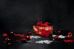 Μαύρη αφηρημένη φωτογραφία Παρασκευής Ευτυχής Χαρούμενα Χριστούγεννα Στοκ Εικόνες