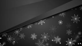 Μαύρη αφηρημένη snowflakes Χριστουγέννων τηλεοπτική ζωτικότητα απόθεμα βίντεο