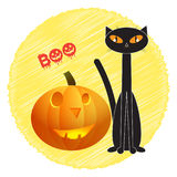 Μαύρη γάτα αποκριών με την κολοκύθα, διανυσματική απεικόνιση Στοκ φωτογραφίες με δικαίωμα ελεύθερης χρήσης