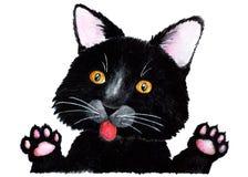 μαύρη γάτα η διακοσμητική εικόνα απεικόνισης πετάγματος ραμφών το κομμάτι εγγράφου της καταπίνει το watercolor στοκ εικόνες