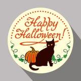 Μαύρη γάτα, κολοκύθα και συρμένα χέρι κείμενο & x22 Ευτυχείς αποκριές! & x22  Στοκ φωτογραφία με δικαίωμα ελεύθερης χρήσης