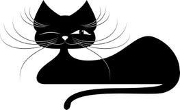 μαύρη γάτα σκιαγραφία Στοκ Εικόνες