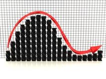 Μαύρη γραφική παράσταση με κόκκινο arrow№1 απεικόνιση αποθεμάτων