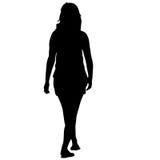 Μαύρη γυναίκα σκιαγραφιών που στέκεται, άνθρωποι στο άσπρο υπόβαθρο Στοκ Εικόνες