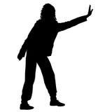 Μαύρη γυναίκα σκιαγραφιών που στέκεται με το βραχίονα που αυξάνεται, άνθρωποι στο άσπρο υπόβαθρο Στοκ Φωτογραφίες