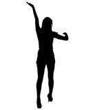 Μαύρη γυναίκα σκιαγραφιών που στέκεται με το βραχίονα που αυξάνεται, άνθρωποι στο άσπρο υπόβαθρο Στοκ φωτογραφίες με δικαίωμα ελεύθερης χρήσης