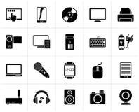 Μαύρη εγχώρια ηλεκτρονική και προσωπικά εικονίδια συσκευών πολυμέσων απεικόνιση αποθεμάτων