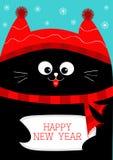 Μαύρη εκμετάλλευση καλή χρονιά γατών Χαριτωμένος αστείος χαρακτήρας κινουμένων σχεδίων Νιφάδα χιονιού, κόκκινο καπέλο, μαντίλι Επ ελεύθερη απεικόνιση δικαιώματος