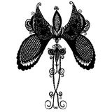 Μαύρη λεπτή πεταλούδα διανυσματική απεικόνιση