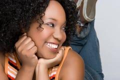 μαύρη ευτυχής γυναίκα Στοκ Εικόνες