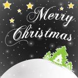 Μαύρη ευχετήρια κάρτα Χαρούμενα Χριστούγεννας Στοκ Φωτογραφίες