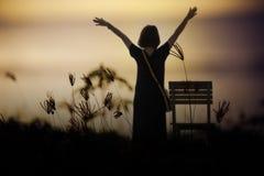 μαύρη ελευθερία έννοιας που απομονώνεται Κορίτσι ομορφιάς πέρα από τον ουρανό και τον ήλιο Στοκ Εικόνα