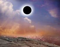 μαύρη ζωηρόχρωμη απεικόνιση έκλειψης σχεδίου ανασκόπησης ηλιακή Στοκ Φωτογραφία