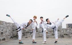 Μαύρη ζώνη Taekwondo στο Σινικό Τείχος Στοκ Φωτογραφία