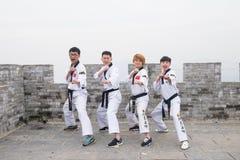 Μαύρη ζώνη Taekwondo στο Σινικό Τείχος Στοκ Εικόνες