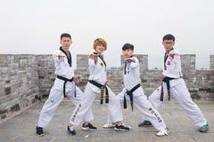 Μαύρη ζώνη Taekwondo στο Σινικό Τείχος Στοκ Φωτογραφίες