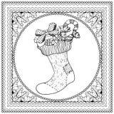 Μαύρη διανυσματική μονο έγχρωμη εικονογράφηση για τη Χαρούμενα Χριστούγεννα Στοκ Φωτογραφία