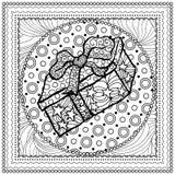 Μαύρη διανυσματική μονο έγχρωμη εικονογράφηση για τη Χαρούμενα Χριστούγεννα Στοκ Εικόνα