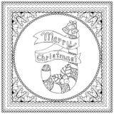 Μαύρη διανυσματική μονο έγχρωμη εικονογράφηση για τη Χαρούμενα Χριστούγεννα Στοκ Φωτογραφίες