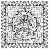 Μαύρη διανυσματική μονο έγχρωμη εικονογράφηση για τη Χαρούμενα Χριστούγεννα Στοκ εικόνα με δικαίωμα ελεύθερης χρήσης