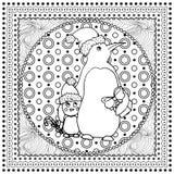 Μαύρη διανυσματική μονο έγχρωμη εικονογράφηση για τη Χαρούμενα Χριστούγεννα και το σχέδιο τυπωμένων υλών καλής χρονιάς 2016 Σχέδι Στοκ εικόνα με δικαίωμα ελεύθερης χρήσης