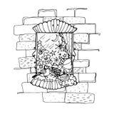 Μαύρη διανυσματική μονο έγχρωμη εικονογράφηση με το παράθυρο για τη Χαρούμενα Χριστούγεννα και το σχέδιο τυπωμένων υλών καλής χρο Στοκ φωτογραφία με δικαίωμα ελεύθερης χρήσης