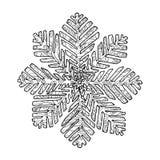 Μαύρη διανυσματική μονο έγχρωμη εικονογράφηση withSnoflake για τη Χαρούμενα Χριστούγεννα και το σχέδιο τυπωμένων υλών καλής χρονι Στοκ φωτογραφία με δικαίωμα ελεύθερης χρήσης