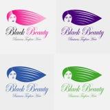 Μαύρη διανυσματική σκιαγραφία λογότυπων κοριτσιών ομορφιάς Στοκ εικόνες με δικαίωμα ελεύθερης χρήσης