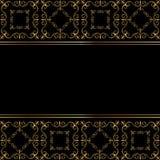Μαύρη κάρτα με τη χρυσή διακόσμηση Στοκ φωτογραφία με δικαίωμα ελεύθερης χρήσης