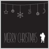 Μαύρη κάρτα Χριστουγέννων με την άσπρη σκιαγραφία Άγιου Βασίλη και του κειμένου επίσης corel σύρετε το διάνυσμα απεικόνισης Στοκ φωτογραφία με δικαίωμα ελεύθερης χρήσης