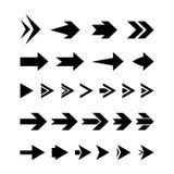 Μαύρη καθορισμένη διανυσματική απεικόνιση εικονιδίων βελών στο άσπρο υπόβαθρο Στοκ Εικόνες