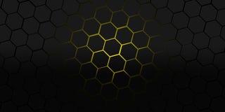 Μαύρη και κίτρινη hexagons σύγχρονη απεικόνιση υποβάθρου Στοκ Εικόνα