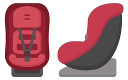 Μαύρη και κόκκινη καθισμάτων αυτοκινήτων παιδιών μπροστινής και πλάγιας όψη, που απομονώνεται σε ένα άσπρο υπόβαθρο απεικόνιση Απεικόνιση αποθεμάτων