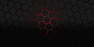 Μαύρη και κόκκινη hexagons σύγχρονη απεικόνιση υποβάθρου Στοκ Εικόνες