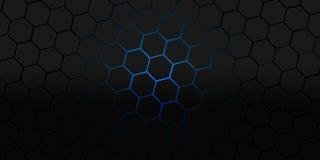 Μαύρη και μπλε hexagons σύγχρονη απεικόνιση υποβάθρου Στοκ Φωτογραφία