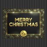 Μαύρη και χρυσή κάρτα με το χρυσό πλαίσιο κύκλων, κορδέλλα ελεύθερη απεικόνιση δικαιώματος